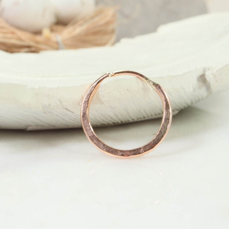illusions hoops 16 gauge hammered pink gold