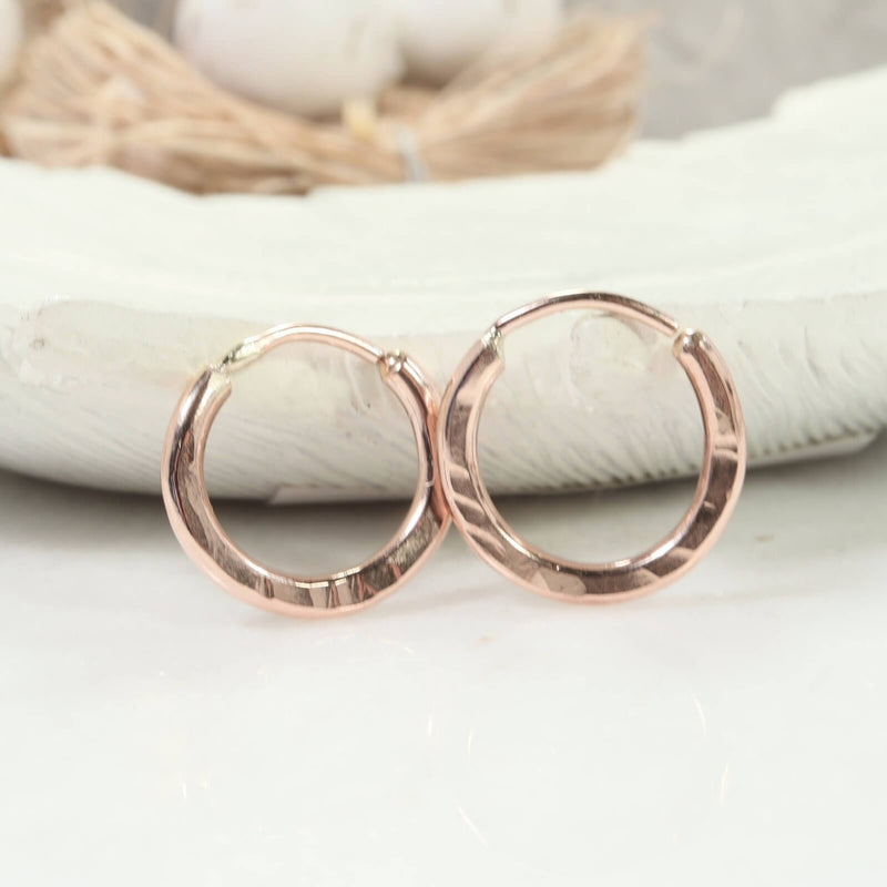 illusions hoops hammered 12 gauge pink gold