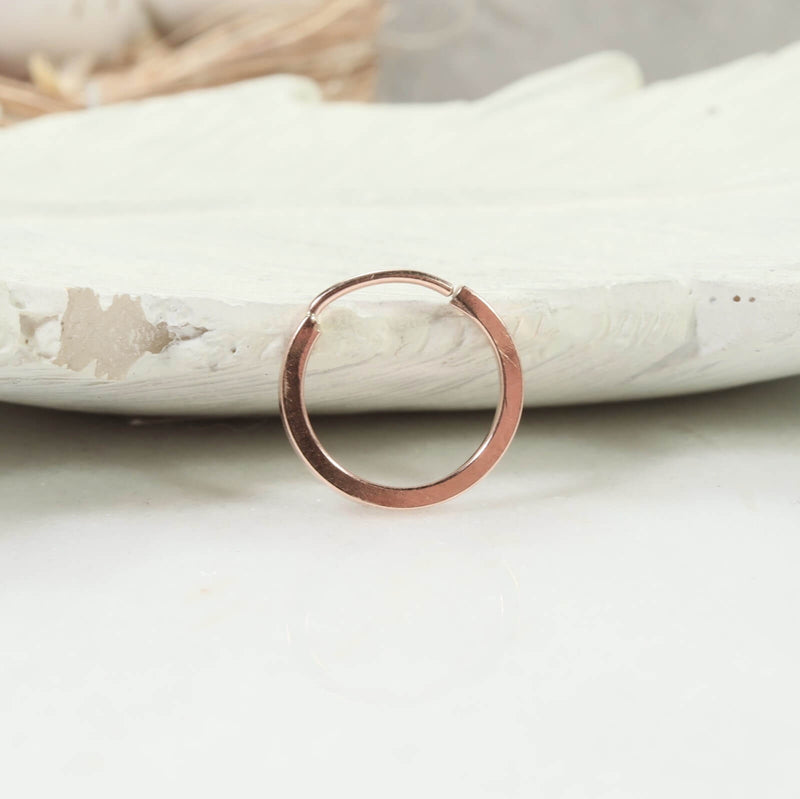 square illusion hoop single 14 gauge pink gold