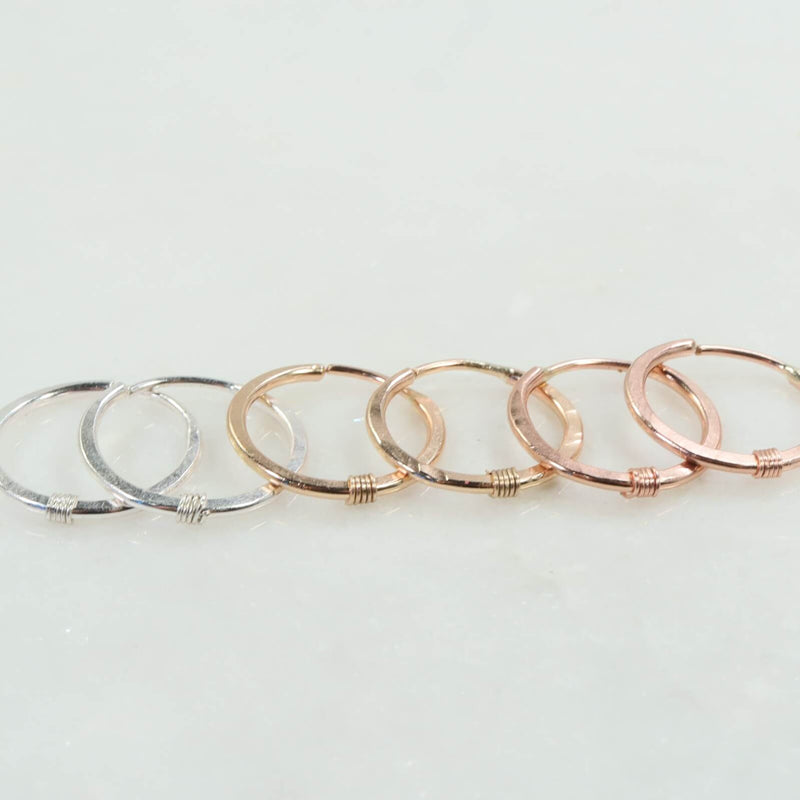 hammered & wrapped illusions hoops silver, gold, pink gold