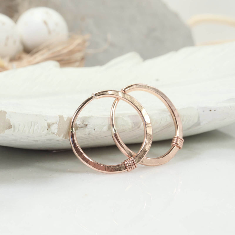 hammered & wrapped illusions hoops pink gold