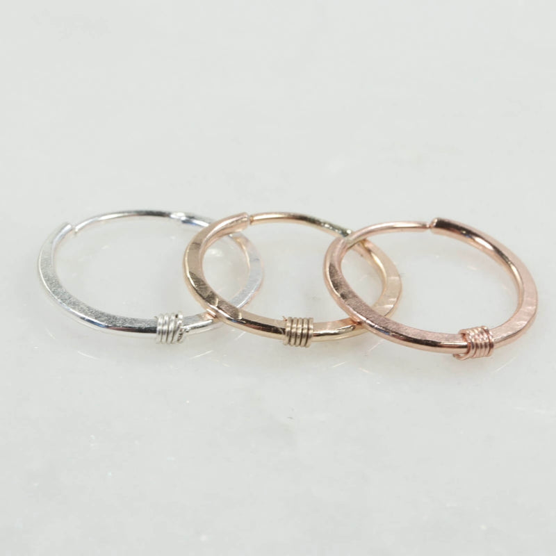 hammered & wrapped illusion hoop single silver, gold, pink gold