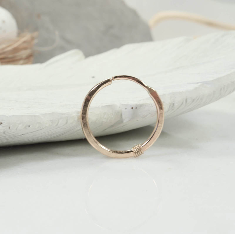 hammered & wrapped illusion hoop single gold
