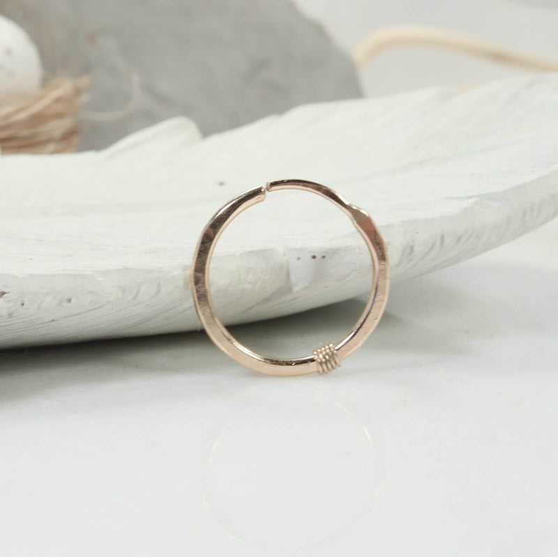 hammered & wrapped illusion hoop gold