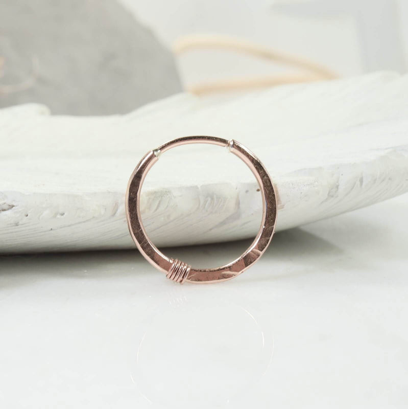 hammered & wrapped illusion hoop single pink gold