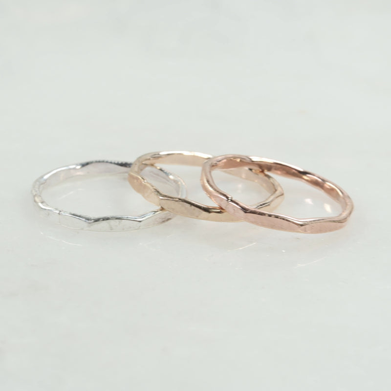 flat hammered stacking rings silver, gold, pink gold
