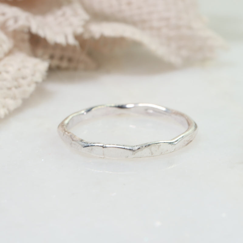 flat hammered stacking rings silver