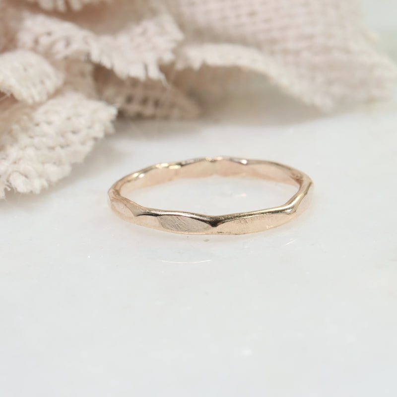flat hammered stacking rings gold