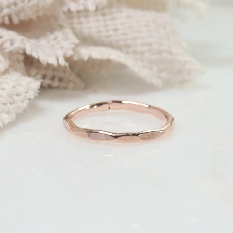 flat hammered stacking rings pink gold