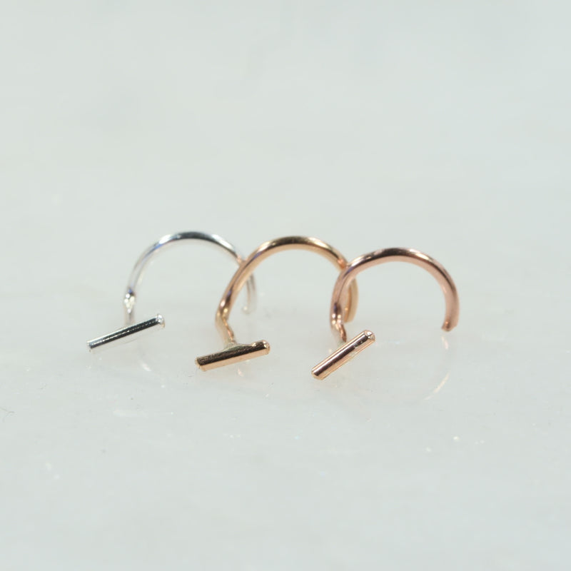 bar nose stud silver, gold, pink gold