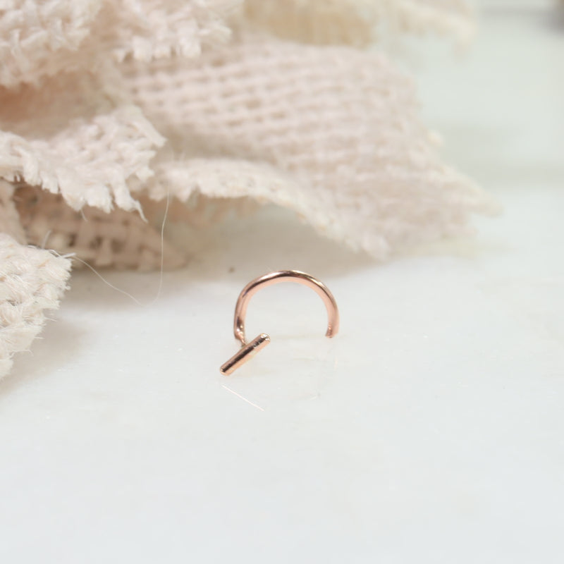 bar nose stud pink gold