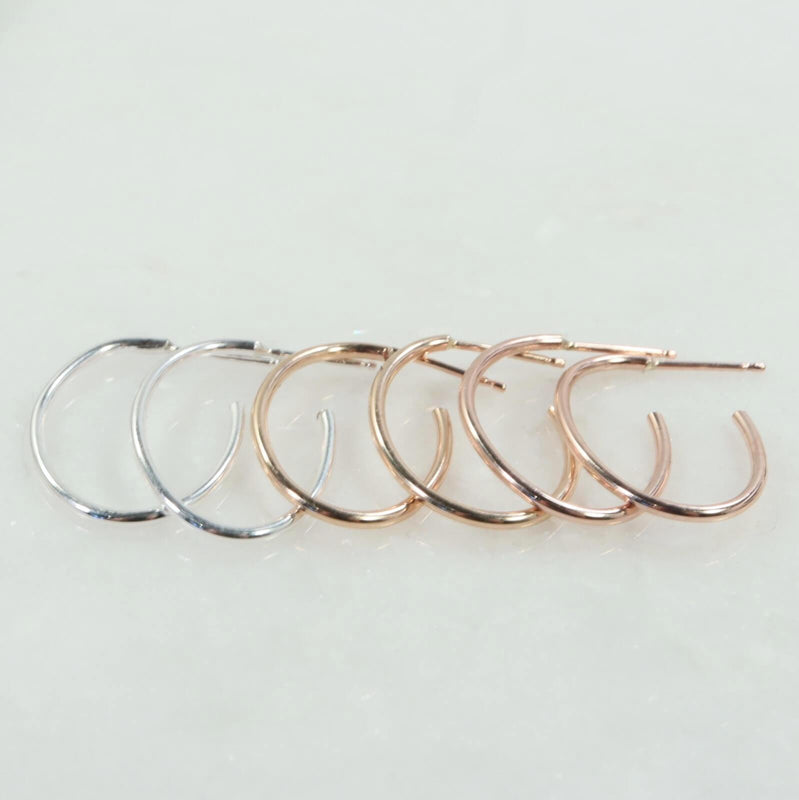 plain oval hoop earrings silver, gold, pink gold