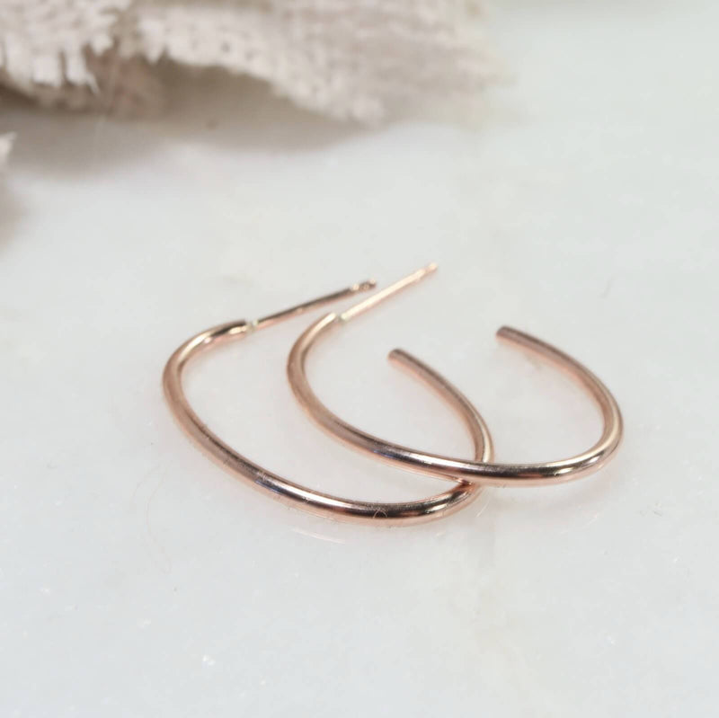 plain oval hoop earrings pink gold