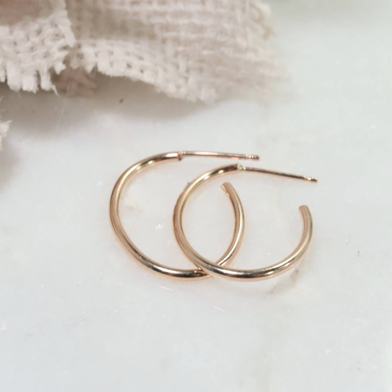 plain oval hoop earrings gold