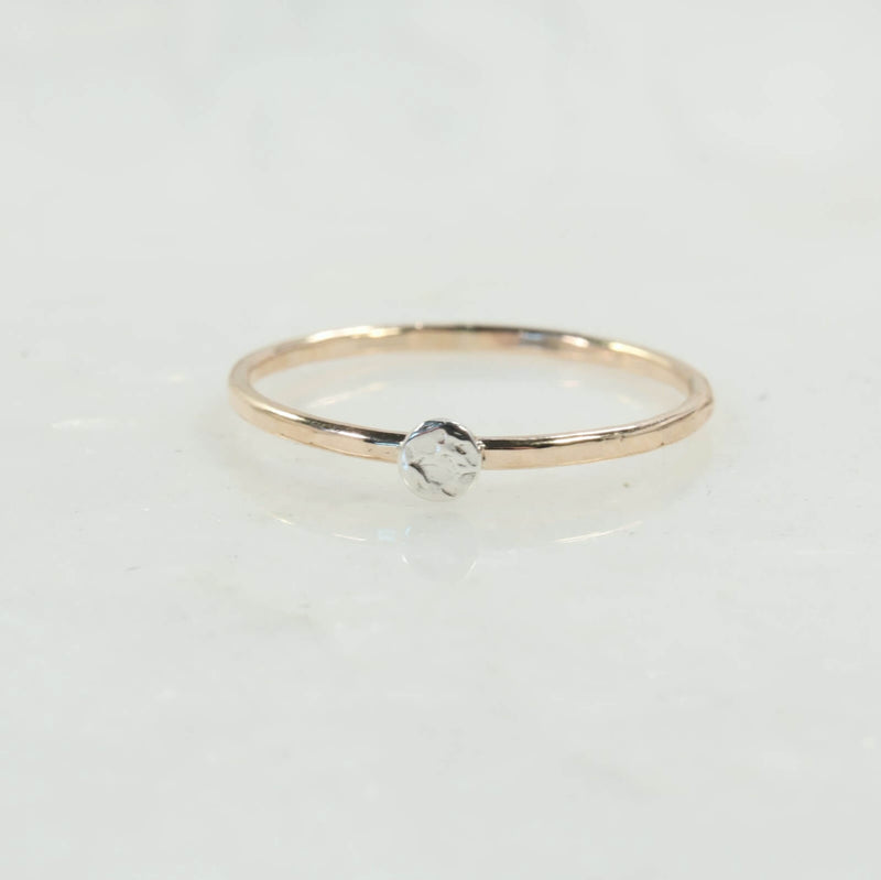 Stacking Ring Gold Hammered with Hammered Silver Dot Choose Your Size