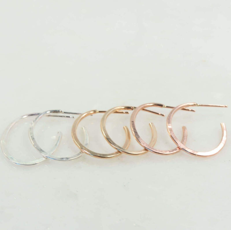 hammered oval hoop earrings silver, gold, pink gold