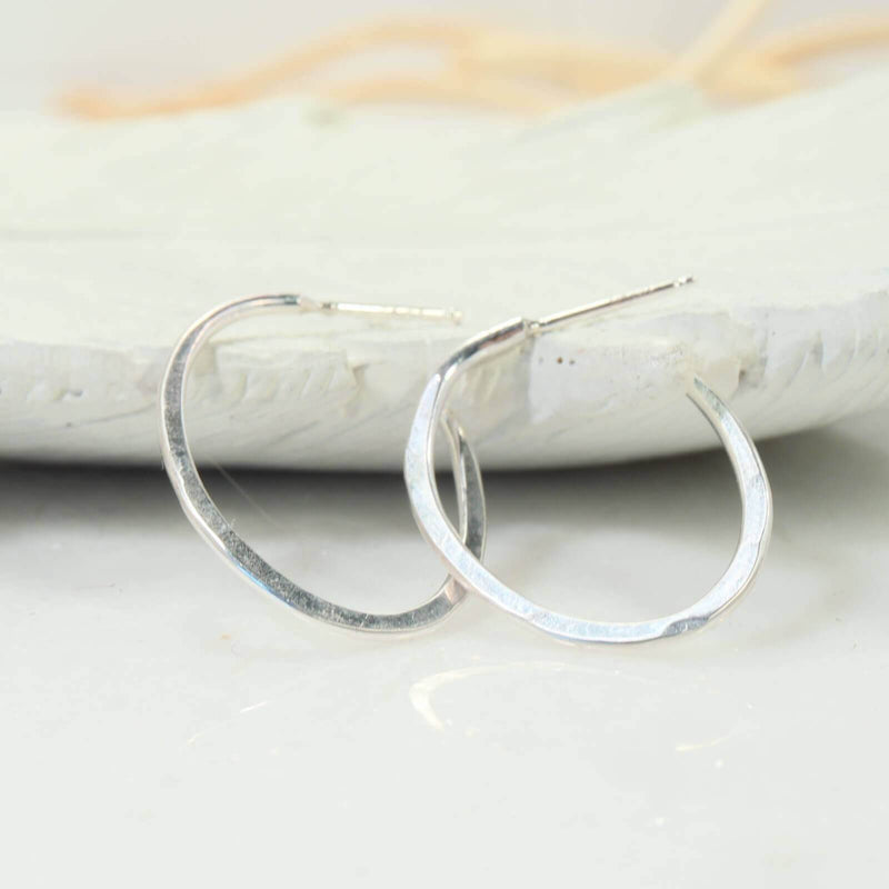 hammered oval hoop earrings silver