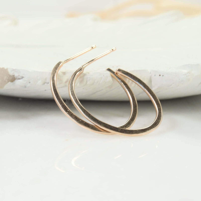hammered oval hoop earrings gold