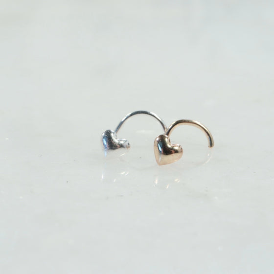 puffy heart nose stud silver, gold