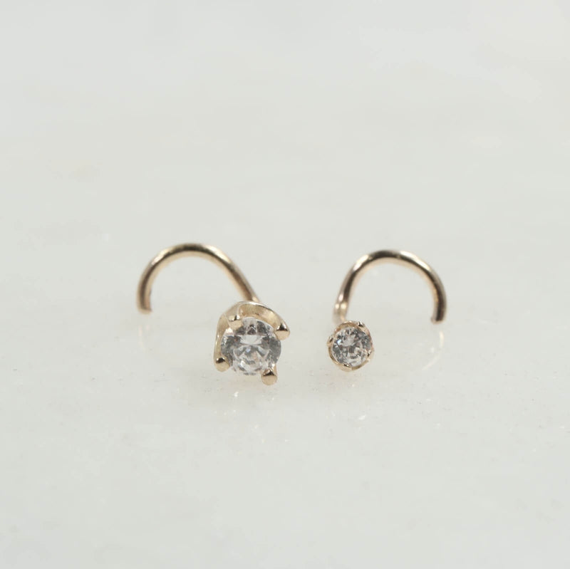 nose stud solid 14k yellow gold