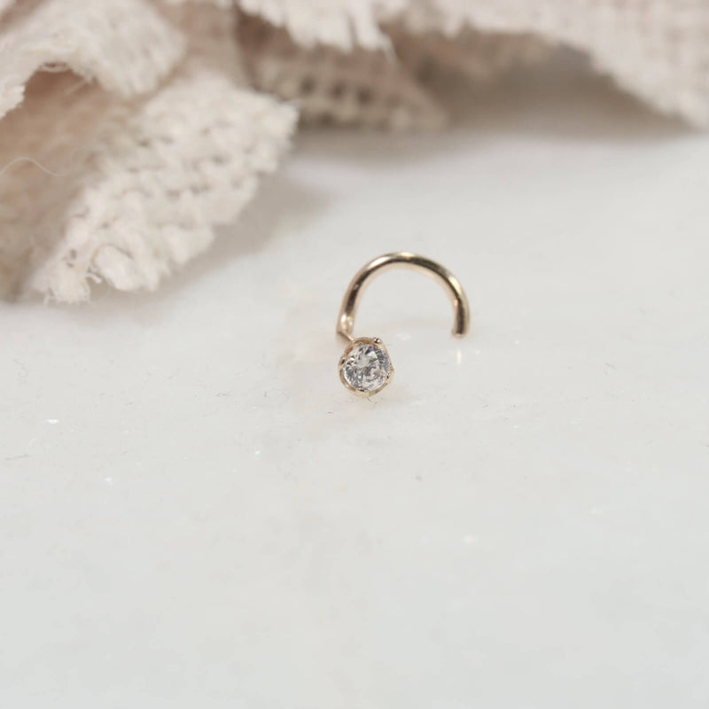 2mm diamond look gold nose stud