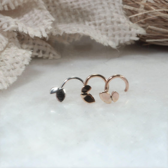 Nose Stud Tiny Sprout Your Choice of Gauge, Style and Metals Precious & Semi Precious