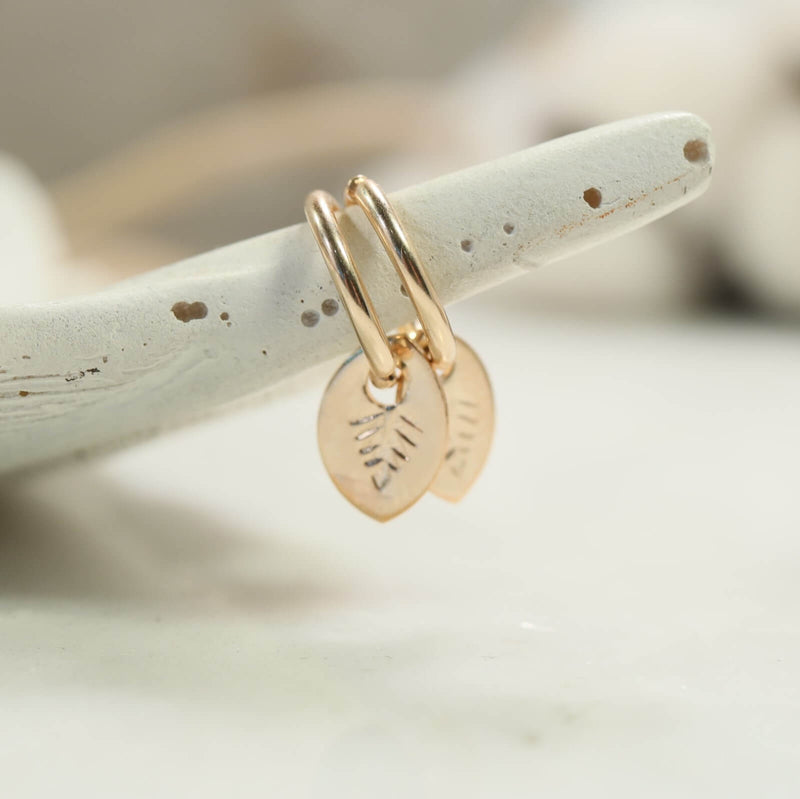 gold hand stamped leaf dangles