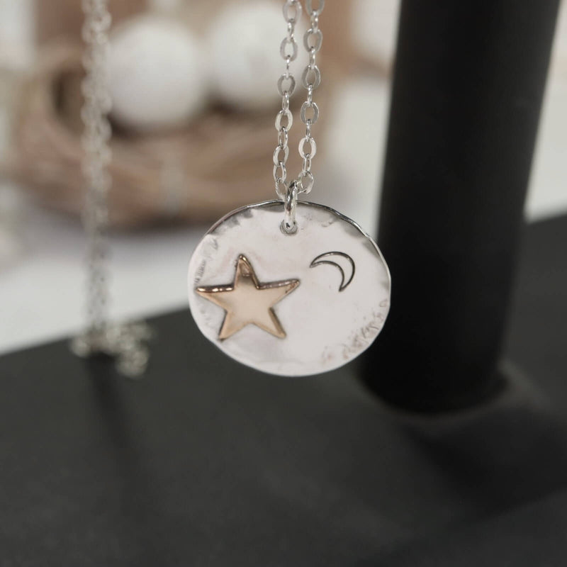 Coin Necklace Star with Crescent Moon Necklace Sterling Silver Choose Your Length