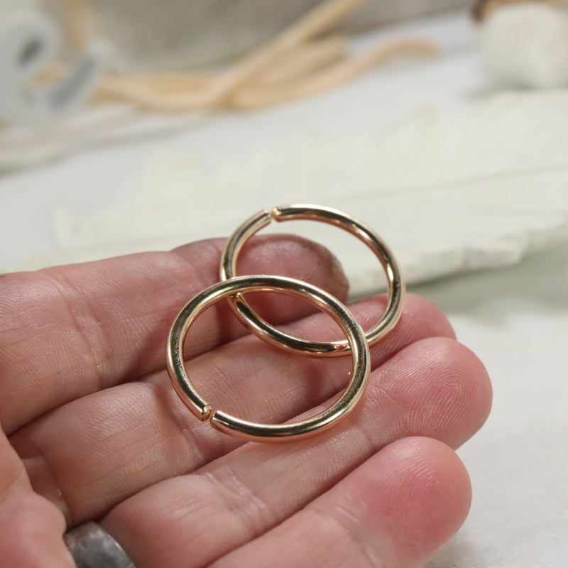 Thick Gauge Hoops for Plugs & Piercings Plain Gold, Silver or Pink Gold