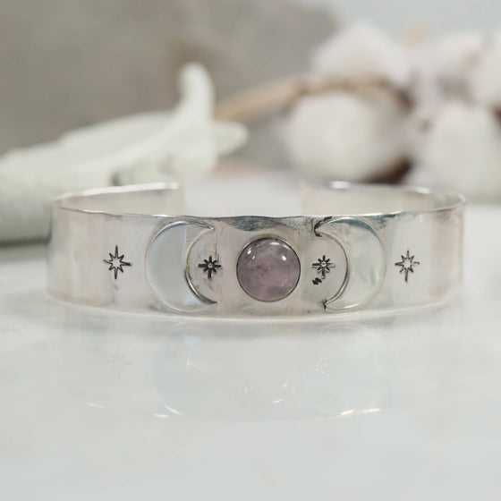 energy bracelet with moons and kunzite