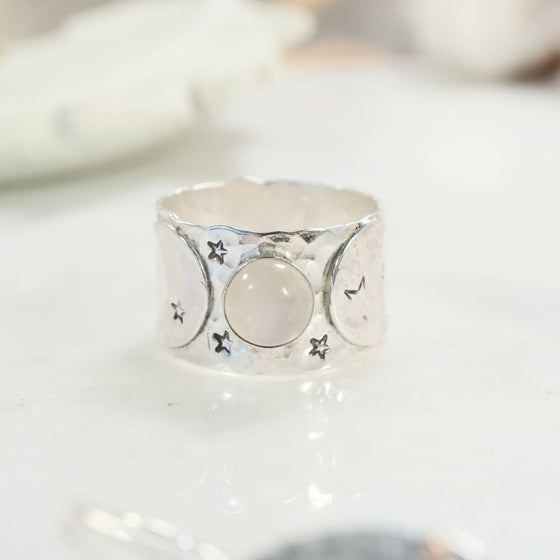 Moonstone and Crescent Moon Ring Sterling Silver 15mm Wide