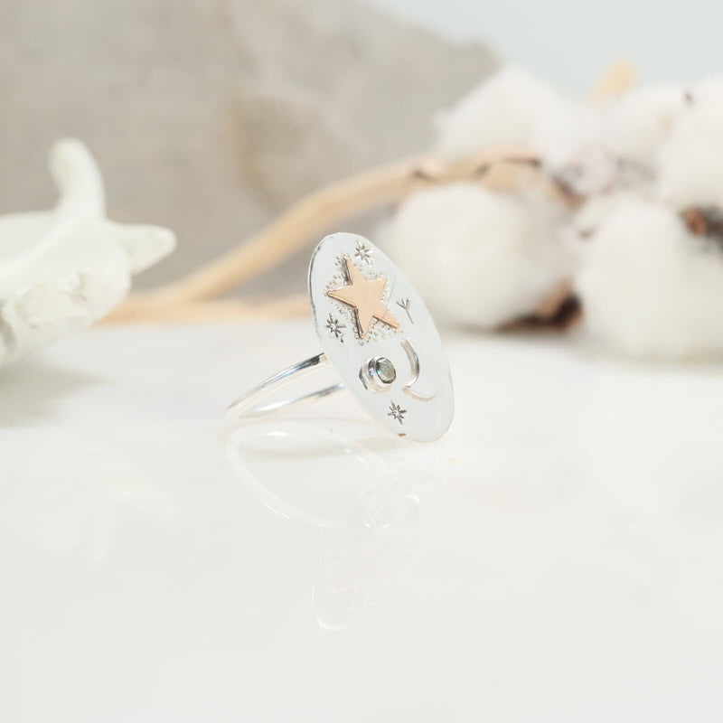 Pyrite gemstone moon & star ring