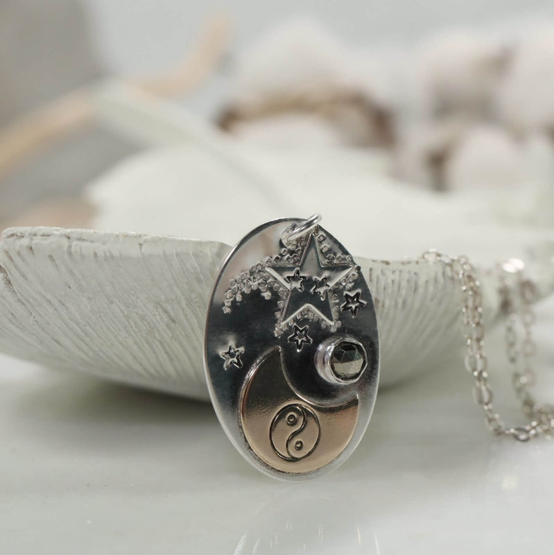 shooting star and yin & yang necklace
