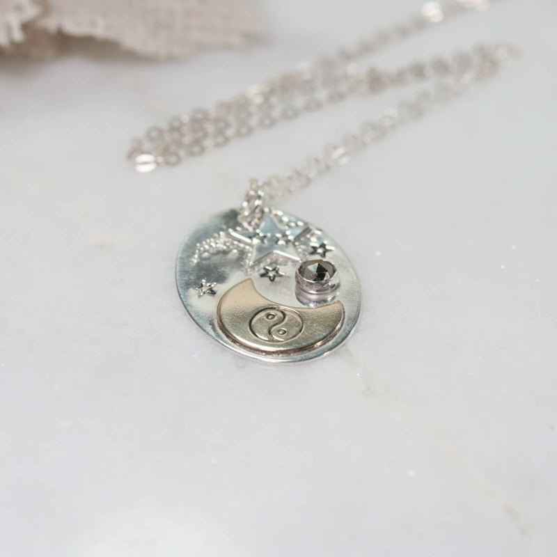 crescent moon & star necklace with yin & yang