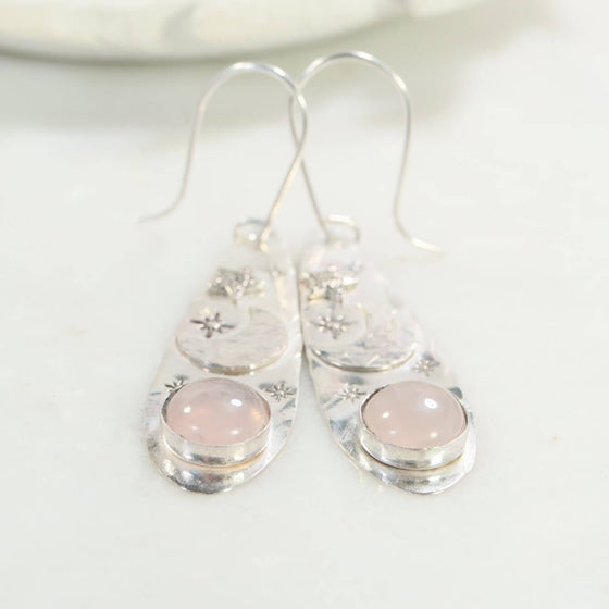 rose quartz moon & star earrings