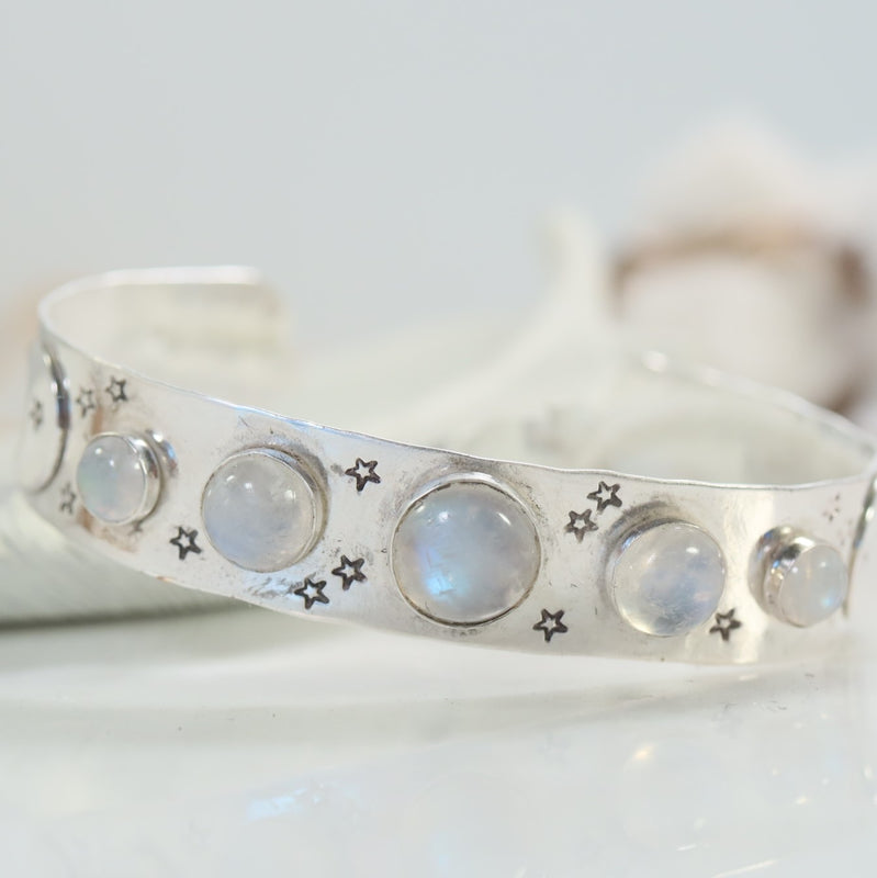 moonstone gemstone bracelet with moons and stars