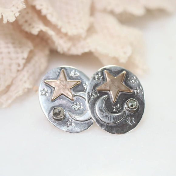 Moon & Stars Oval Post Earrings Celestial Witch