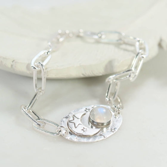 Chain Moon & Star Moonstone Bracelet Sterling Silver