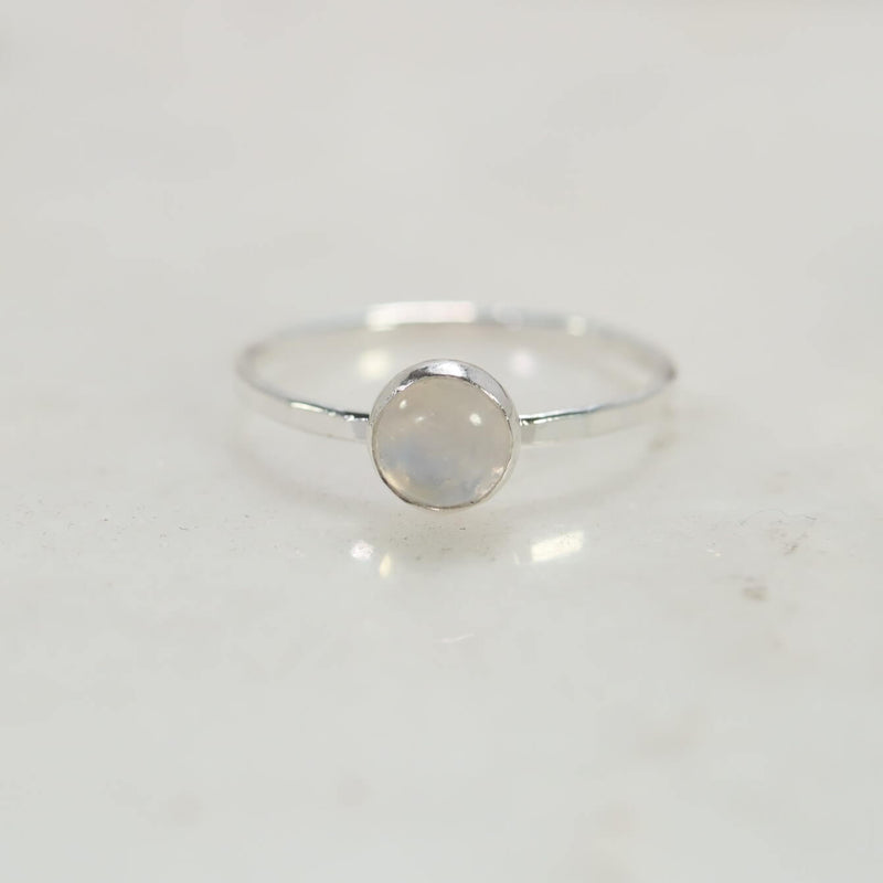 solitaire rainbow moonstone ring