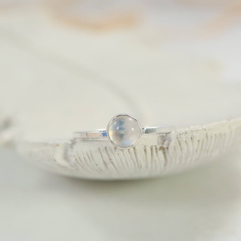 hammered band moonstone ring