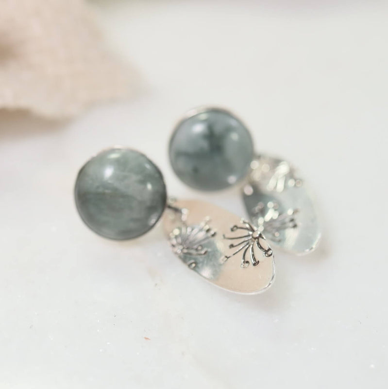 cats eye dandelion earrings