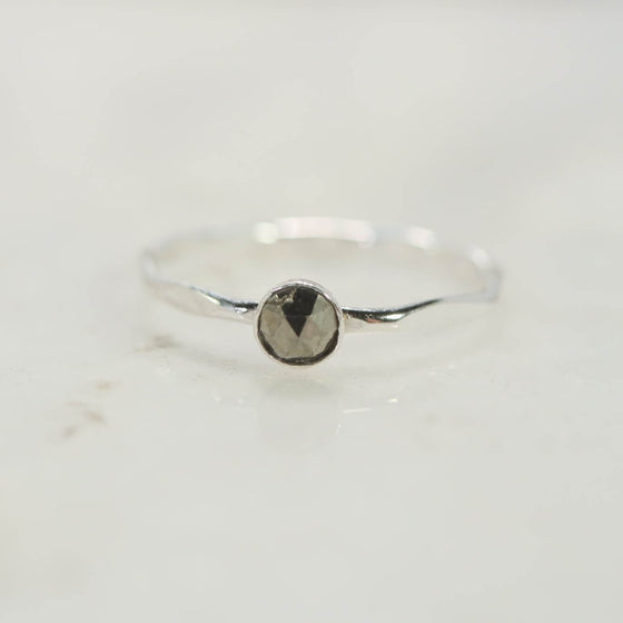 silver ring with pyrite gemstone