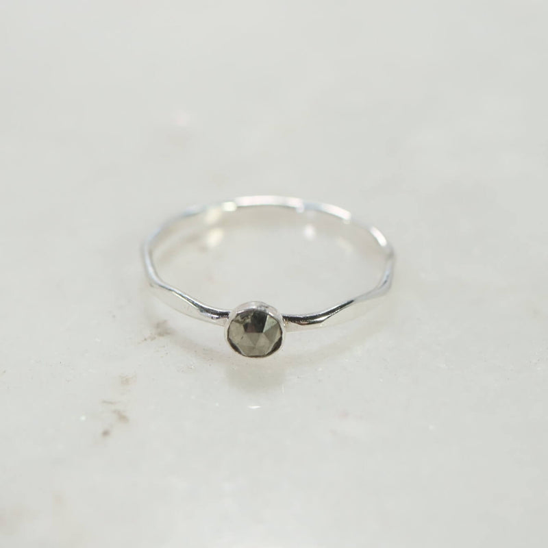 above view flattened pyrite ring