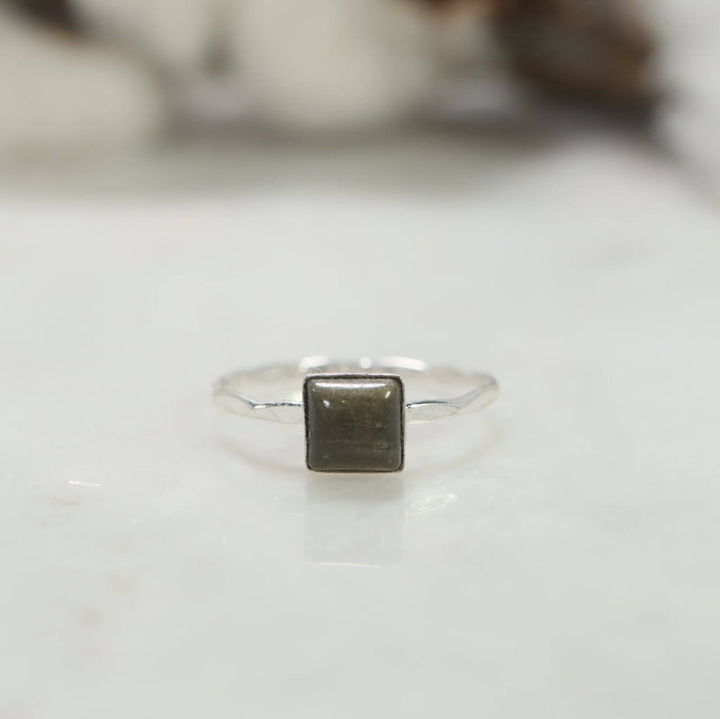 square golden obsidian ring