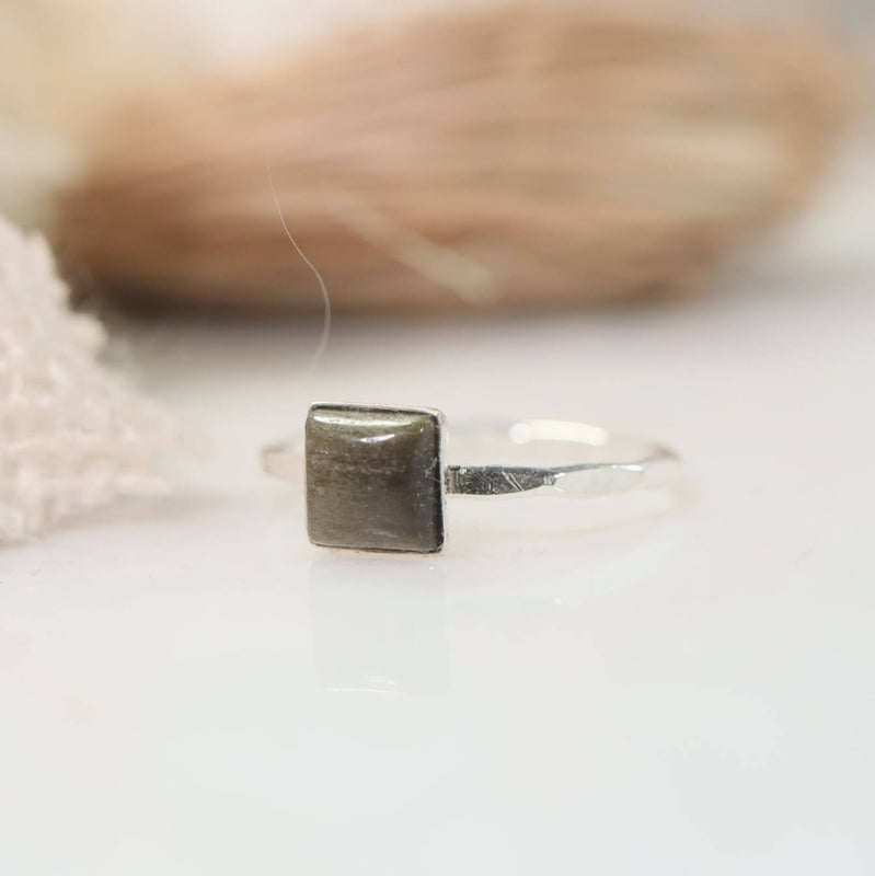 square gemstone ring silver