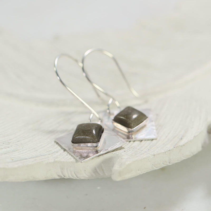 Square earrings silver with goldstone