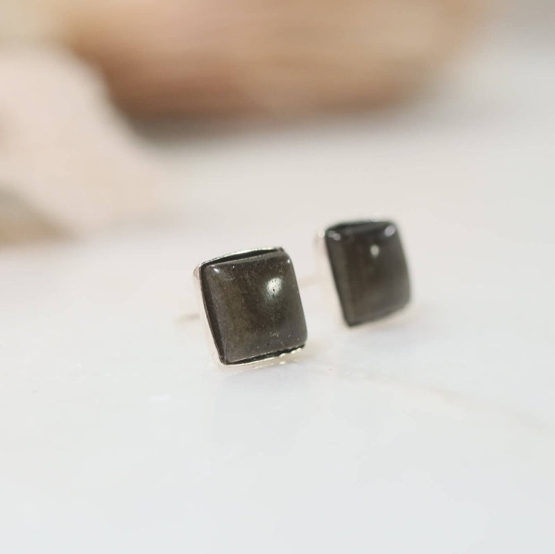 golden obsidian stud earrings