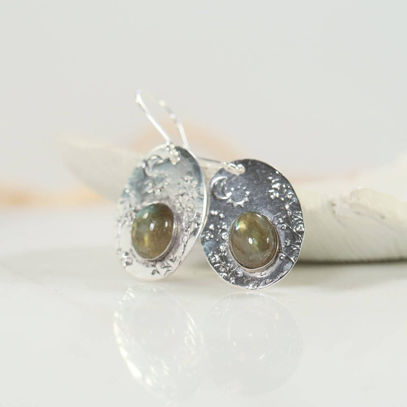 side view labradorite earrings
