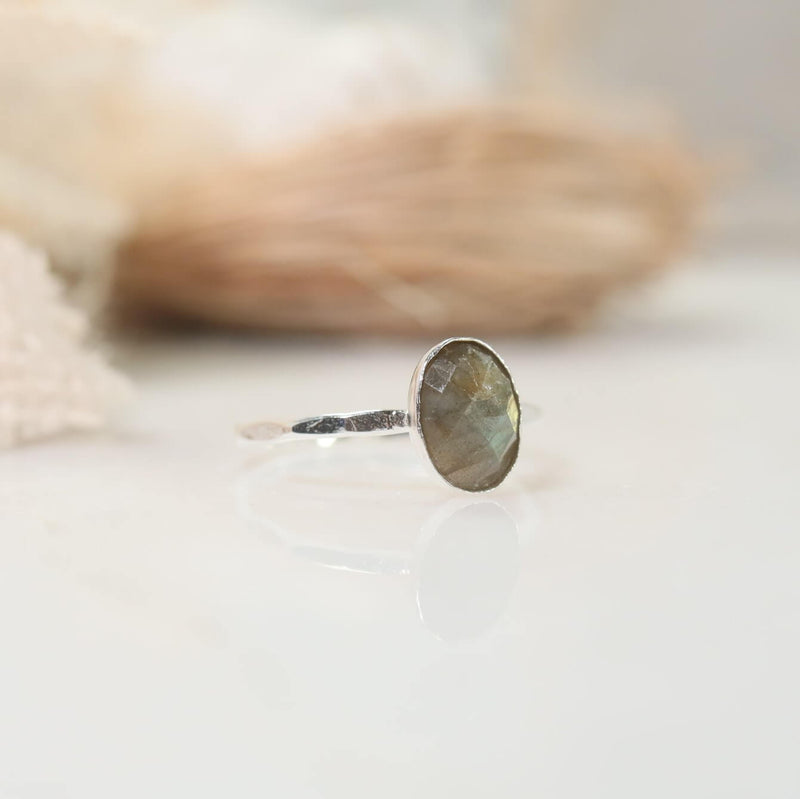 faceted gemstone labradorite ring