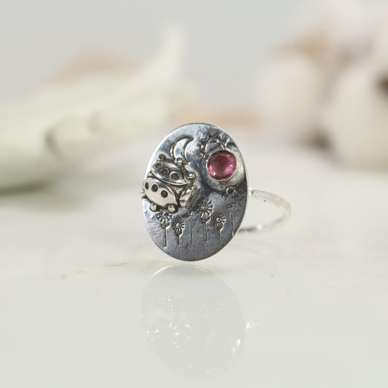 ladybug ring in sterling silver